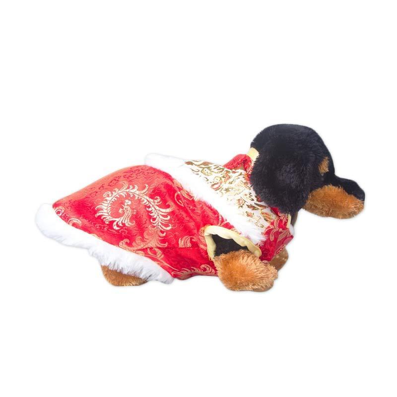 CNY Pink Peony Doggie Cheongsam Red Gold - S