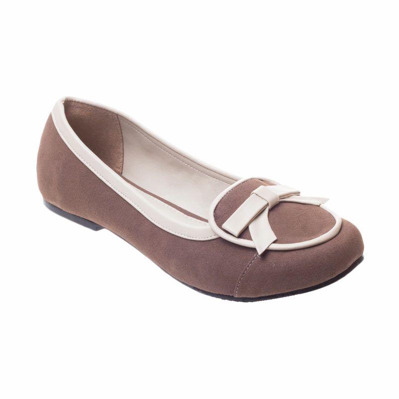 Poplin Shoes Fiona Flat Ribbon Brown