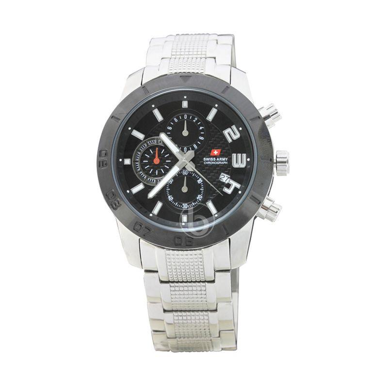 Swiss Army SA 2055 G Bezel Hitam Dial Putih Jam Tangan Pria