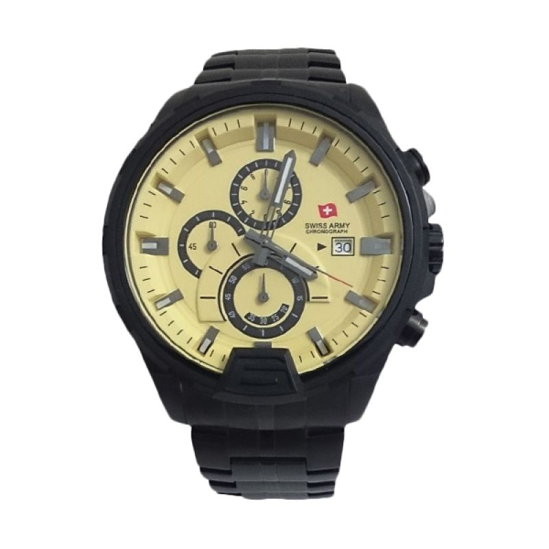 Swiss Army 1164 G Body Hitam Bezel Kuning Jam Tangan Pria [Limited Edition]
