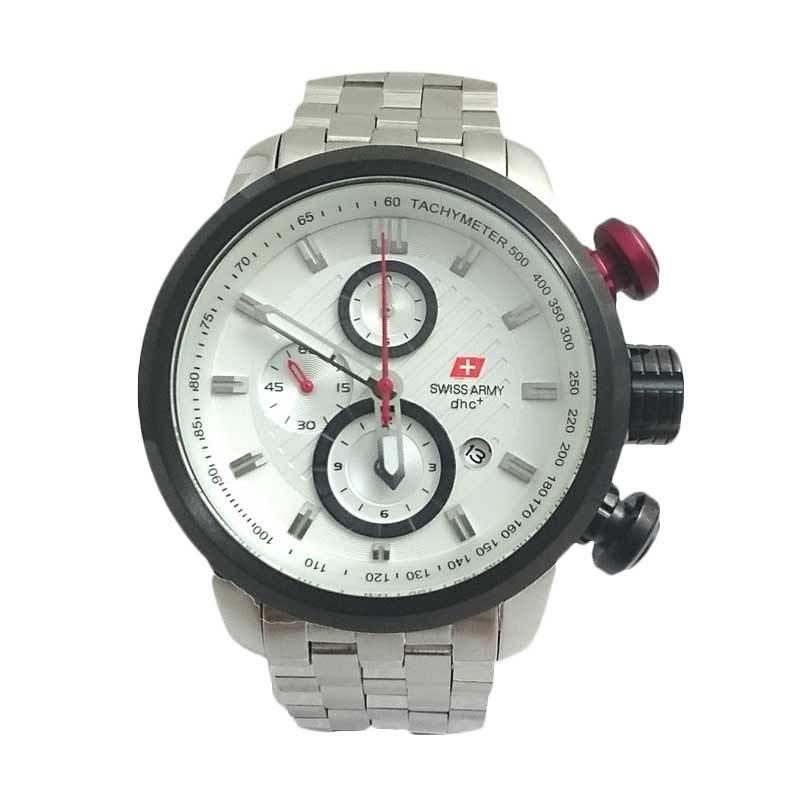 Swiss Army SA 2108 M Body Bezel Silver Chronograph Jam Tangan Pria