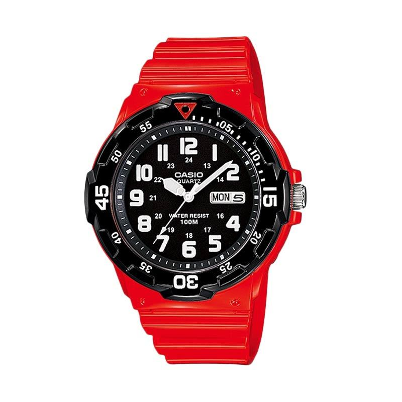 Casio Standard MRW-200HC-4BV Black Red Jam Tangan Pria