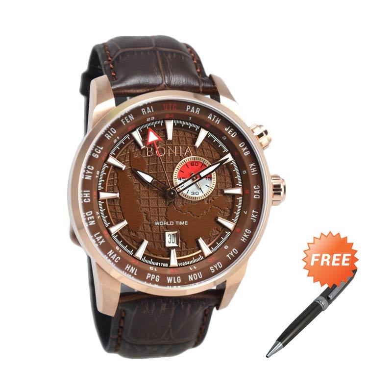 Bonia BNB10254-1545 Jam Tangan Pria + Free Pen