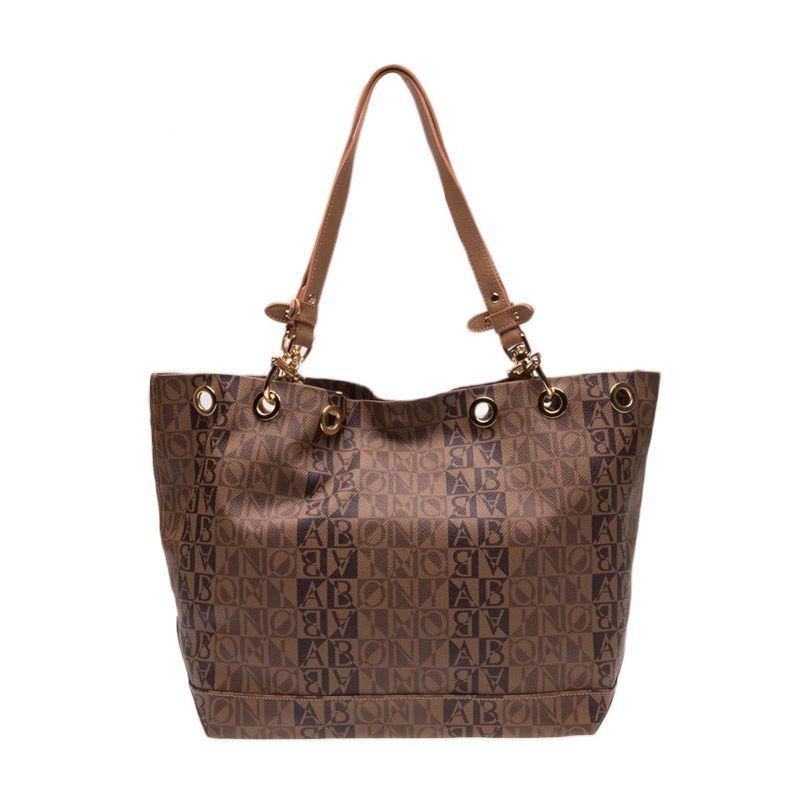 Bonia Classic Two-Tone Monogram Large Dark Brown Tote Bag Tas Tangan