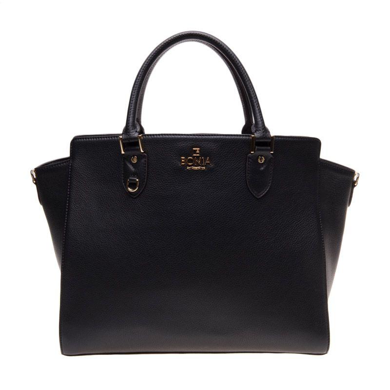 Bonia Full Leather Shera Black Tote Bag Tas Tangan [Medium]