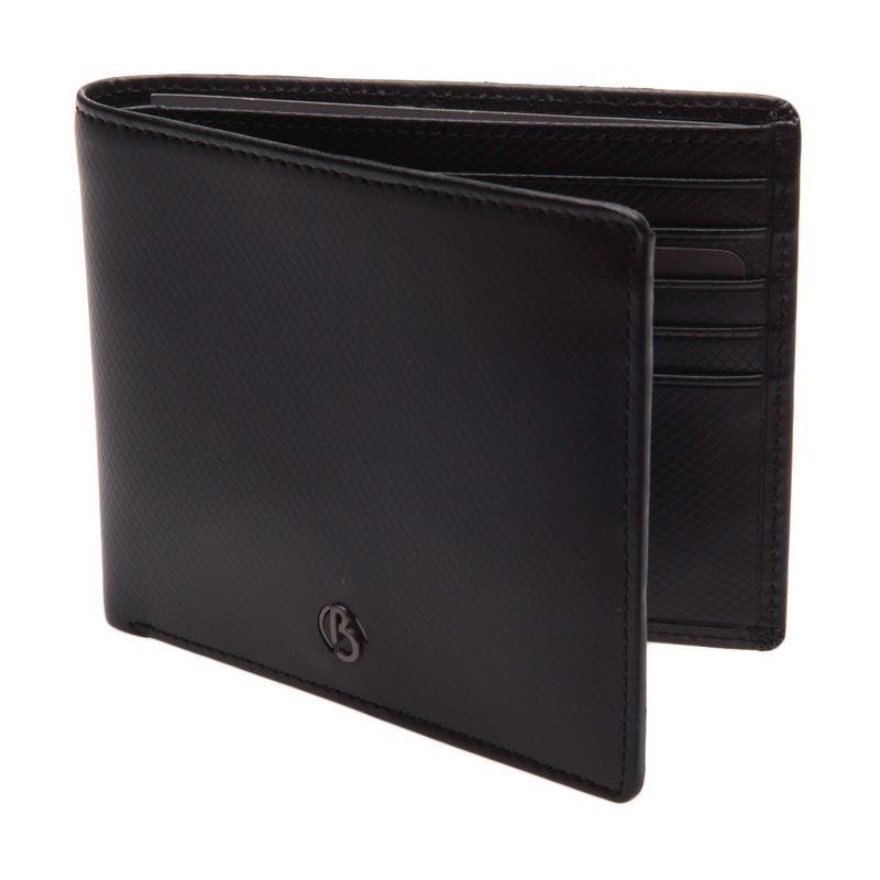 Bonia Pachelbel Leather Short 2 Fold Black Dompet