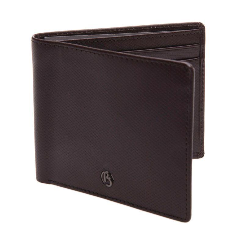 Bonia Pachelbel Leather Short 2 Fold Right Window Dark Brown Dompet