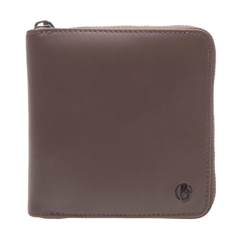 Kamis Ganteng - Bonia Rty Short 3 Fold Zip Leather Brown Dompet