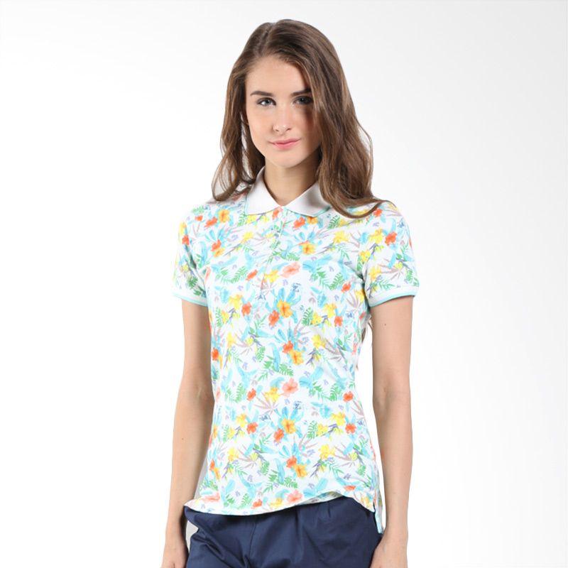 Bossini Ladies Allover Floral 620088010 Pure White Polo Shirt