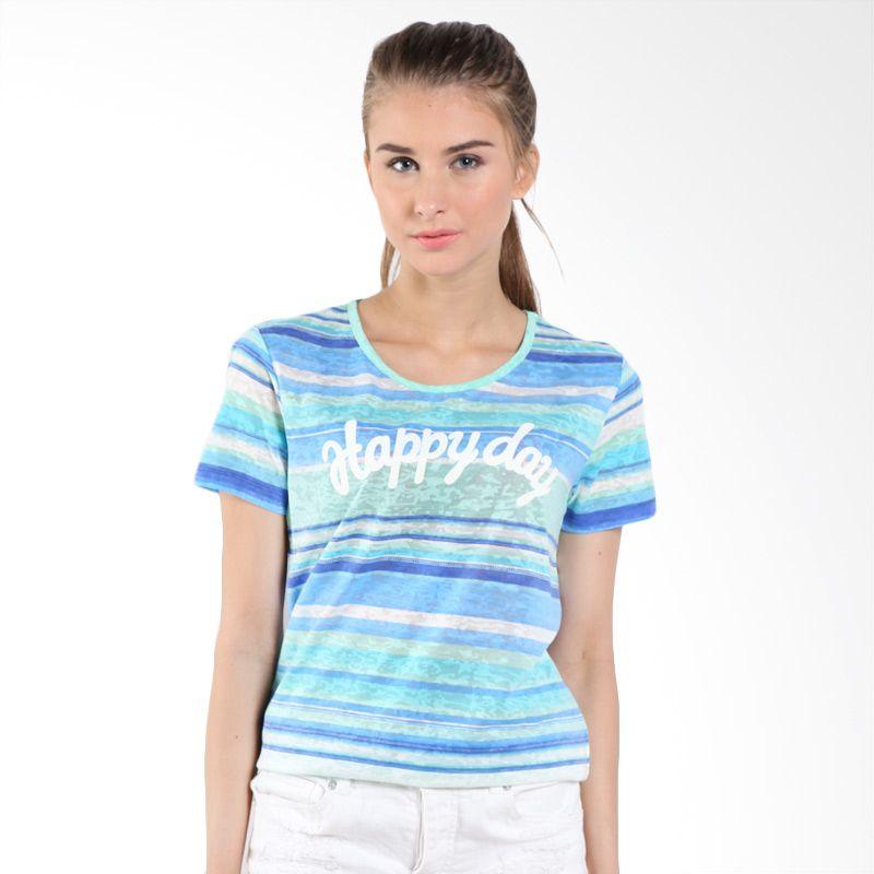 Bossini Ladies Allover Water Stripe 620083000 Ocean Blue Kaos Wanita