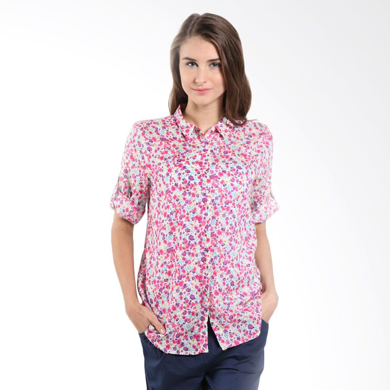 Bossini Ladies Elb Roll Allover 621070090 Fresh Pink Blouse
