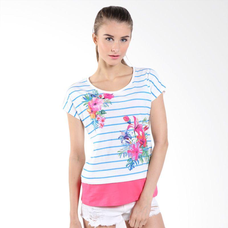 Bossini Ladies Floral Double Layer 620144090 Cloud Blue Kaos Wanita