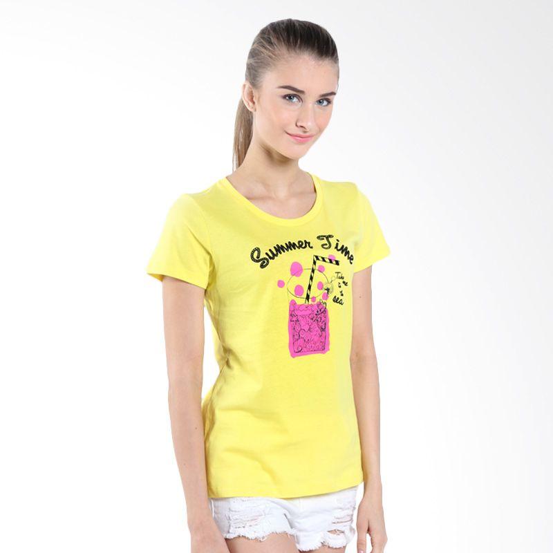 Bossini Ladies SS Print 620855020 Brt Yellow Kaos Wanita