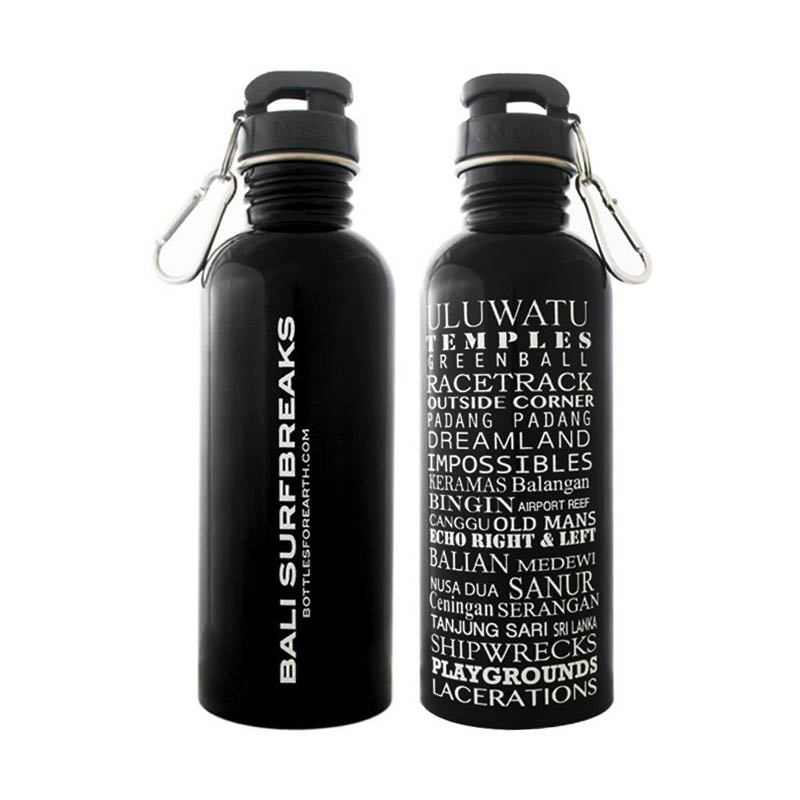 Bottles For Earth Bali Surfbreaks (Black) front and back 750ml