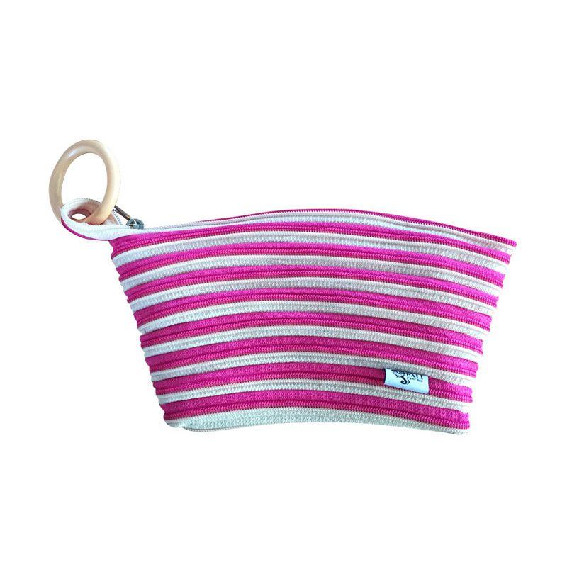 Zip 'n' Roll Bali AP-001 Pink Krem Pouch [18 x 13 cm]