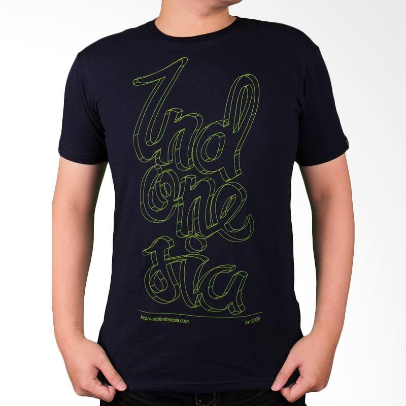Be Proud of Indonesia - Indonesia Script 3D Navy Blue Atasan Pria