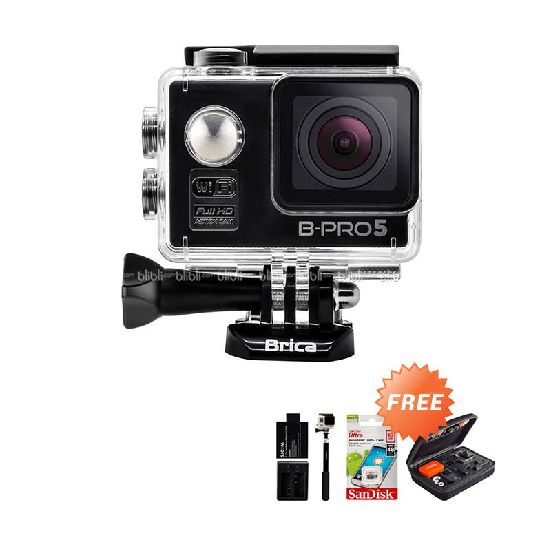 Brica B-PRO 5 Alpha Edition Combo Extreme Hitam Wifi Action Camera + Bag + Memory Card + Monopod + Extra Battery + Dual Charger