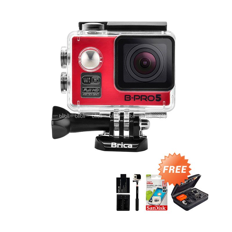 Brica B-PRO 5 Alpha Edition Combo Extreme Merah Wifi Action Camera + Bag + Memory Card + Monopod + Extra Battery + Dual Charger