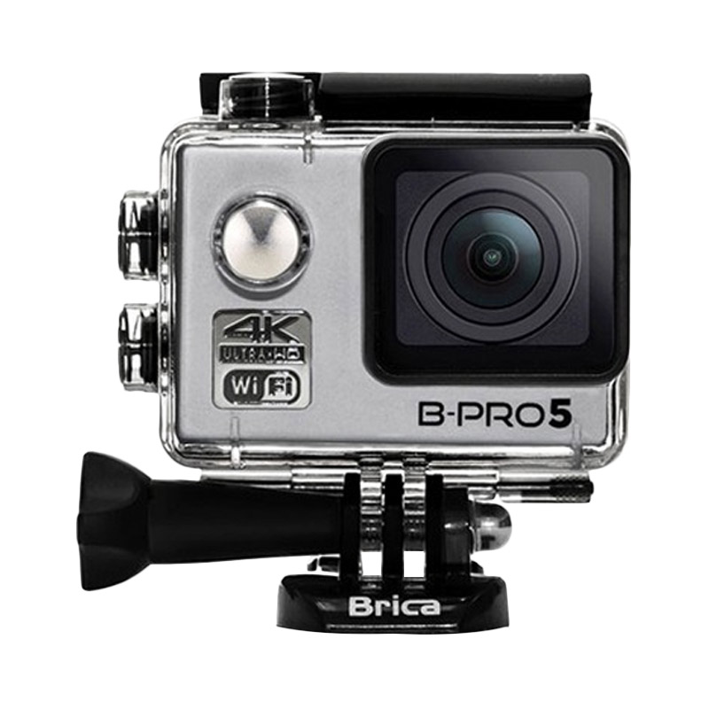 Brica B-Pro 5 Alpha Edition Mark II 4K Action Cam - Silver + Free Memory Micro Sandisk 8GB Class 10 + Tongsis + LCD Screen Guard