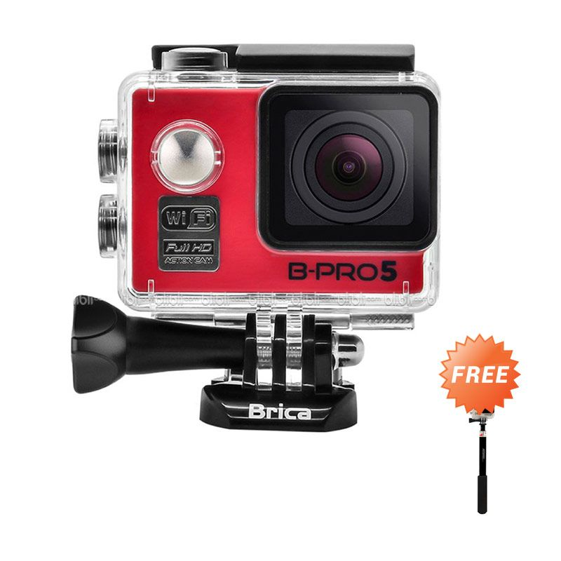 Brica B-PRO 5 Alpha Edition Merah WiFi Action Camera + Attanta Tongsis