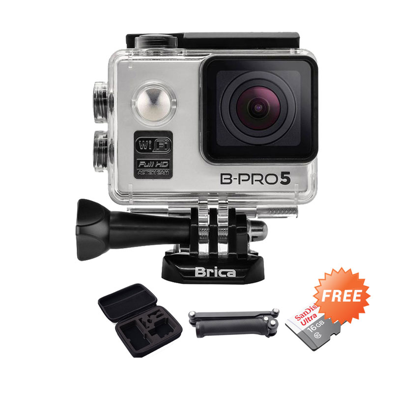 harga Brica B-Pro Alpha 5 Action Camera - Silver + Free Sandisk Ultra 16 GB Kartu Memori + Third Party 3 Way Arm Mount + Medium Case Blibli.com