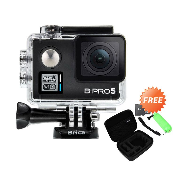 Brica BPro 5 Alpha Plus WiFi Hitam Action Cam [16 MP] + Neopine Nec-2 Bag + Neopine NPF-1 Handgrib + Memory Card [8 GB]