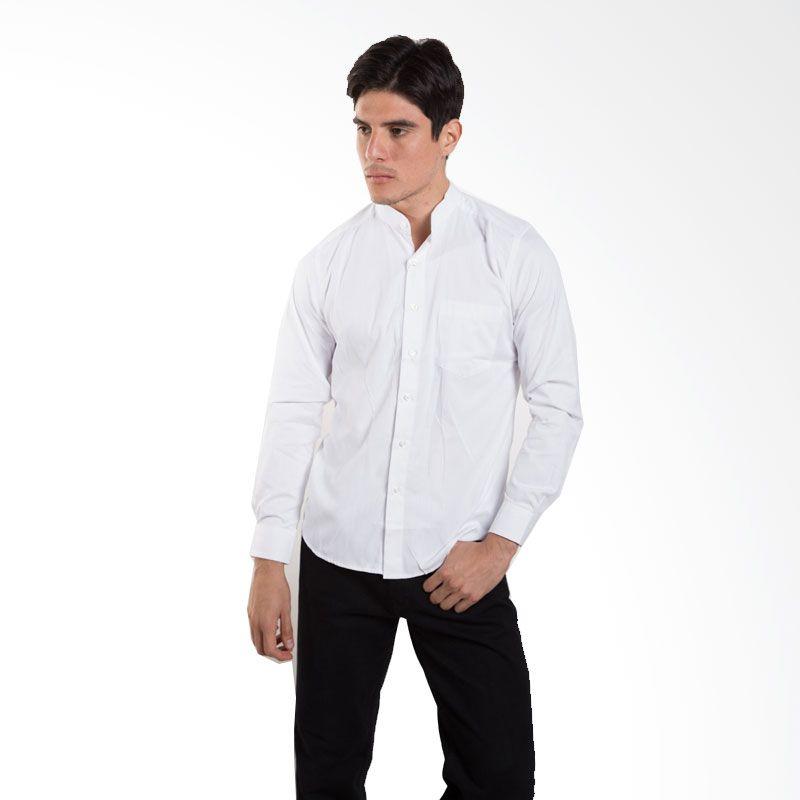 Britania Solid Texture White Baju Koko [Lebaran Collection]