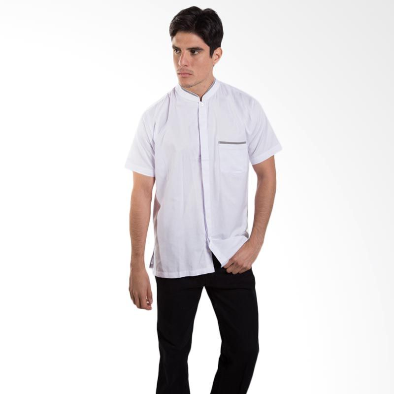 Britania Solid Combination White Baju Koko [Lebaran Collection]