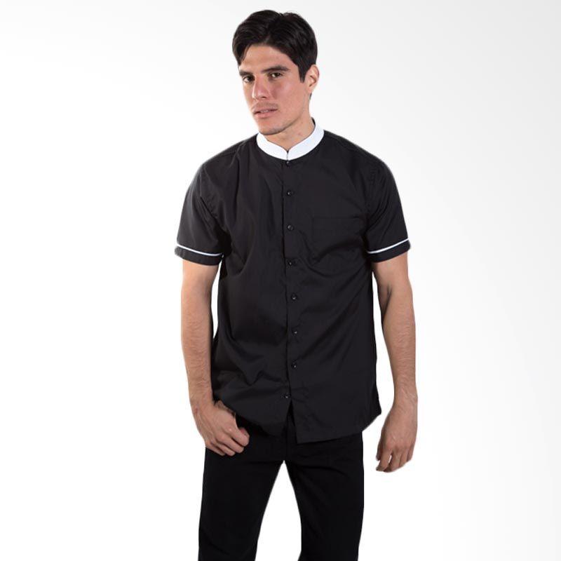 Britania Solid Contrast Collar Black Baju Koko [Lebaran Collection]