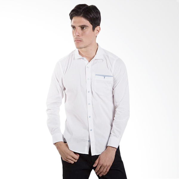 Britania Solid With Contrast Pocket Lining White Kemeja Pria
