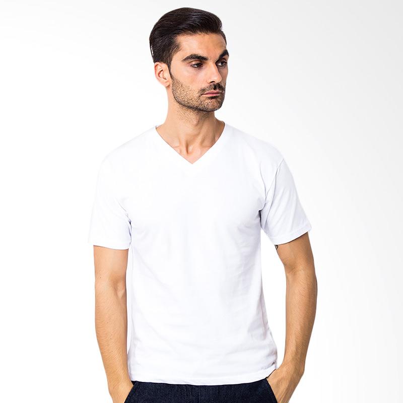 Browncola V-neck Kaos Pria - White