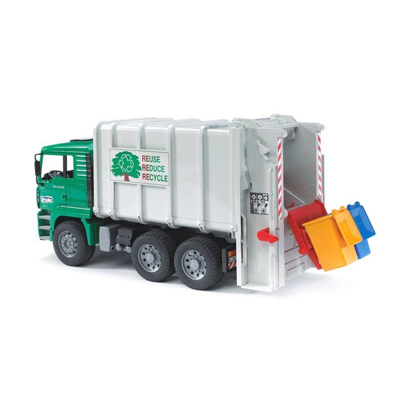 Bruder Toys MAN TGA Rear Garbage Truck Green White Mainan Anak