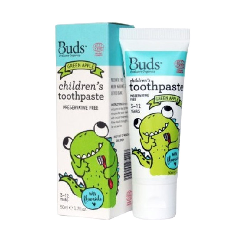 Buds - Green Apple with Fluoride and Xylitol [3-12 Years] - Pasta Gigi Bayi