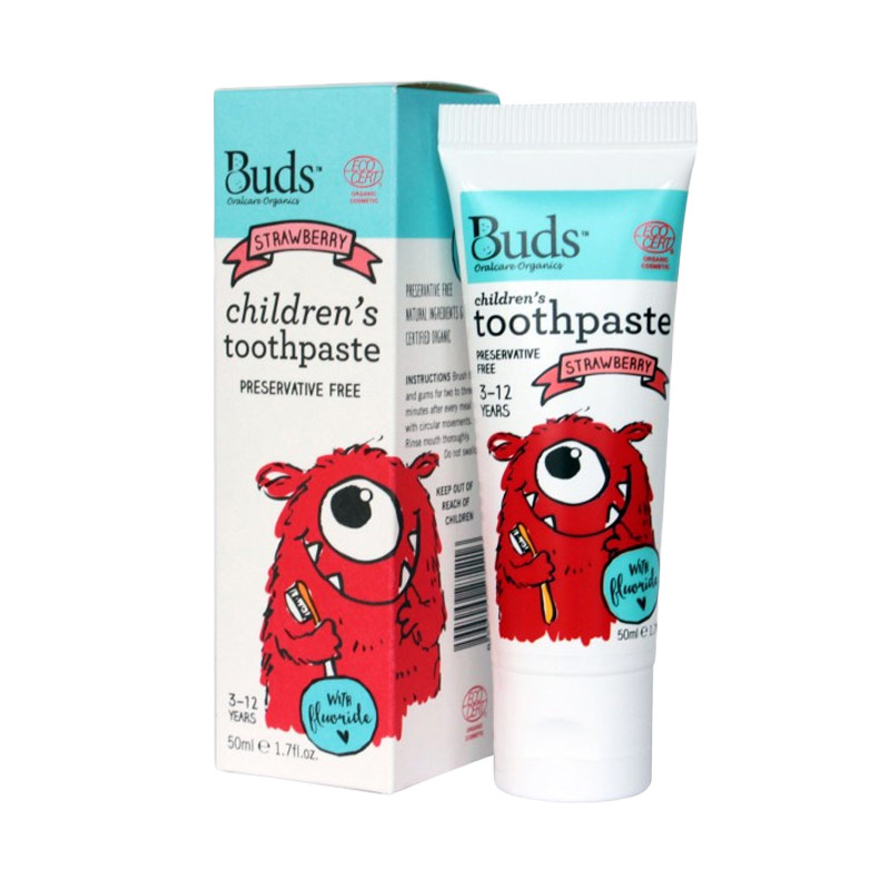 Buds - Strawberry with Fluoride and Xylitol  [3-12 Years] - Pasta Gigi Organik