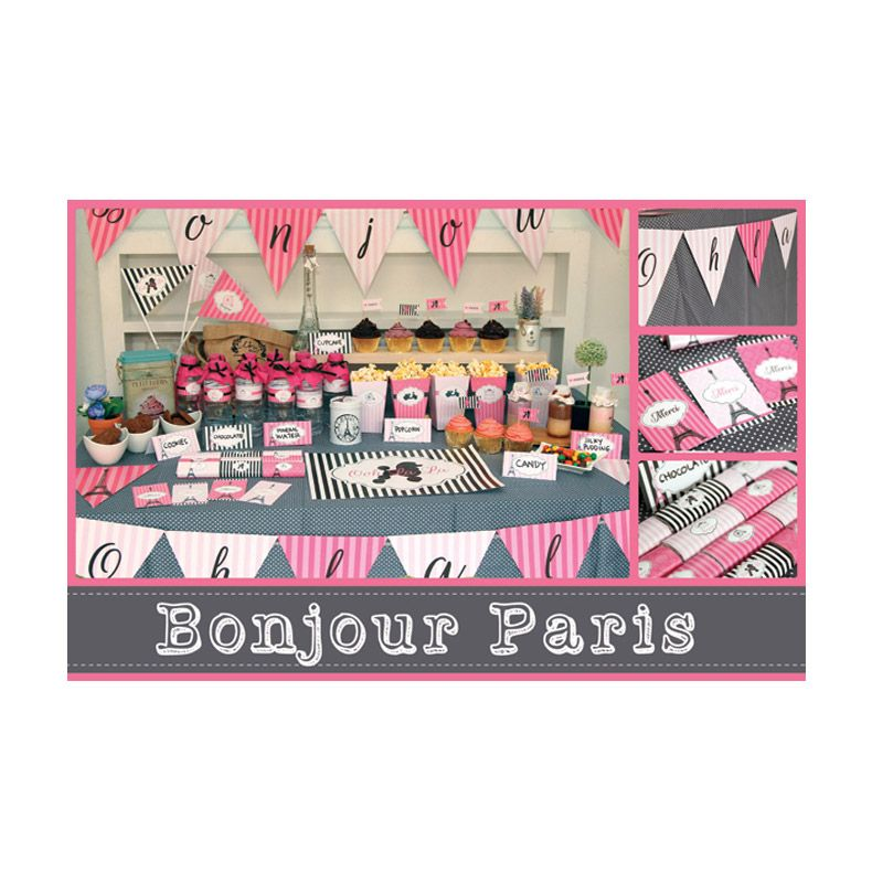 Bukuunik Bonjour Paris Pink Party Set