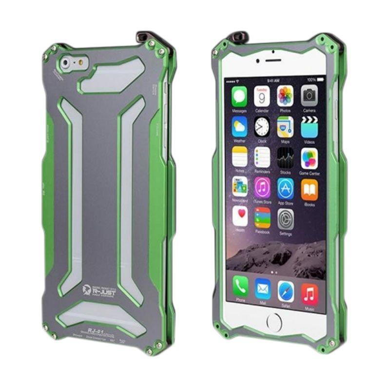 Bumper Case R-Just Gundam Alumunium Metal Bumper Green Casing for iPhone 6 Plus