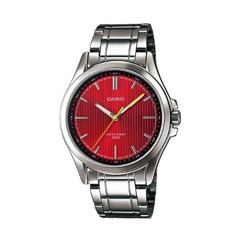 Casio Analog MTP-E104D-4AVDF Silver Merah Jam Tangan Pria