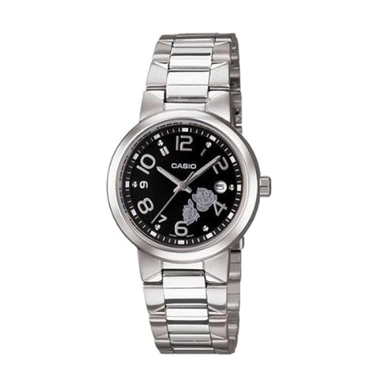 Casio Analog LTP-1292D-1ADF Silver Hitam Jam Tangan Wanita