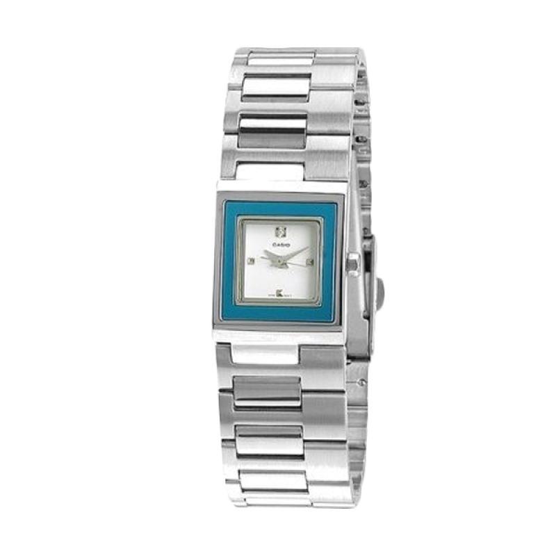 Casio Analog LTP-1317D-2CDF Silver Biru Jam Tangan Wanita