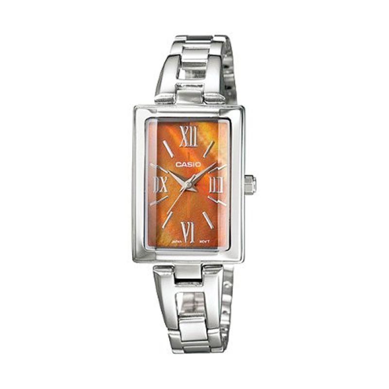 Casio Analog LTP-1341D-5ADF Silver Orange Jam Tangan Wanita