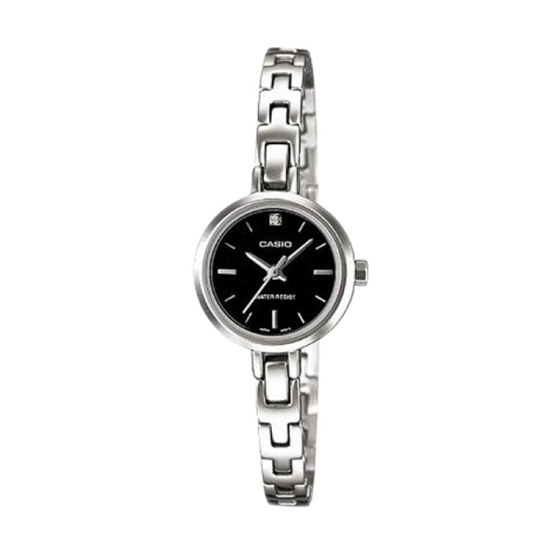 Casio Analog LTP-1351D-1CDF Silver Black Jam Tangan Wanita