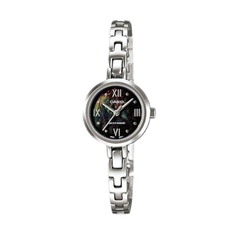 Casio Analog LTP-1352D-1ADF Silver Black Jam Tangan Wanita