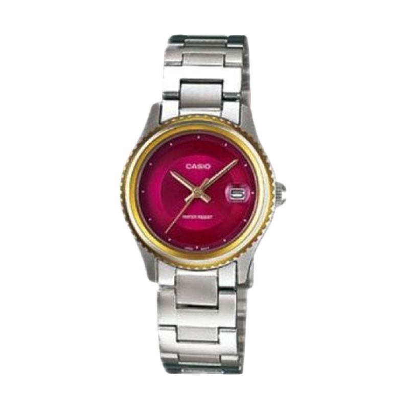 Casio Analog LTP-1365D-4EDF Silver Merah Jam Tangan Wanita