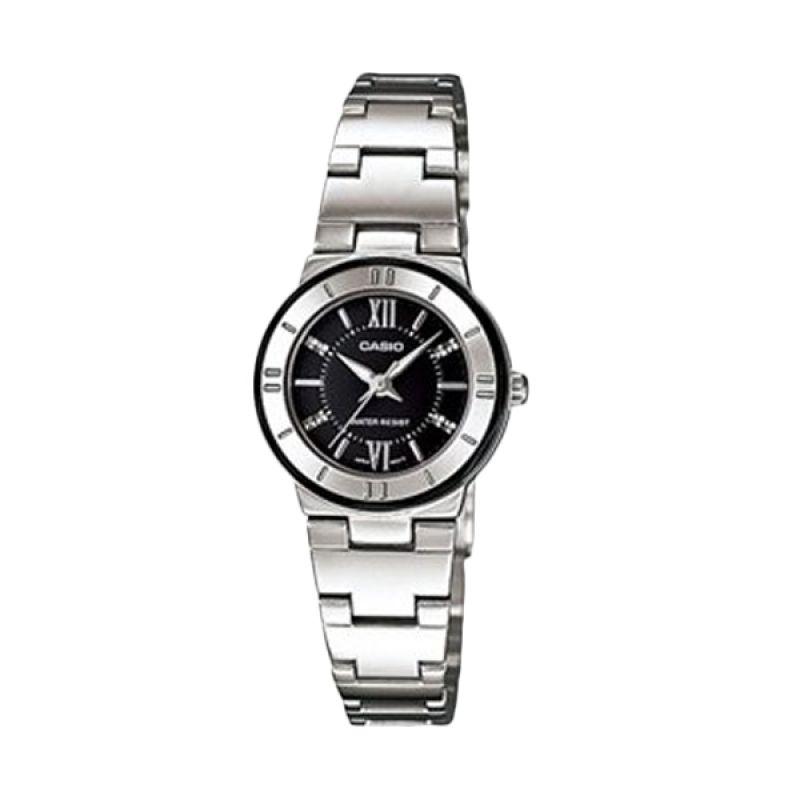 Casio Analog LTP-1368D-1A1DF Silver Hitam Jam Tangan Wanita
