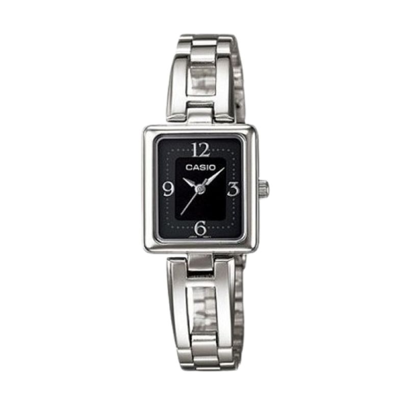 Casio Analog LTP1346D-1CDF Silver Black Jam Tangan Wanita