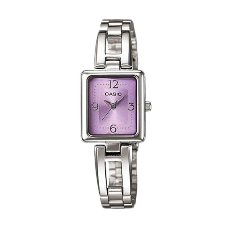 Casio Analog LTP1346D-6CDF Silver Purple Jam Tangan Wanita
