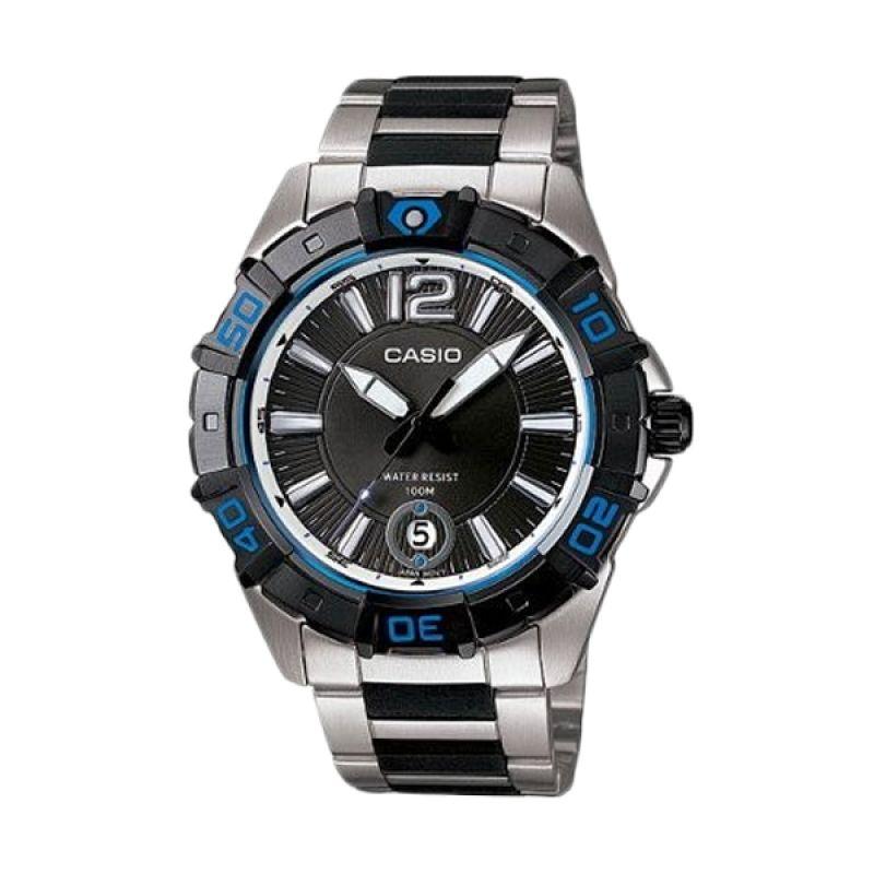 Casio Analog MTD-1070D-1A1VDF Silver Biru Jam Tangan Pria