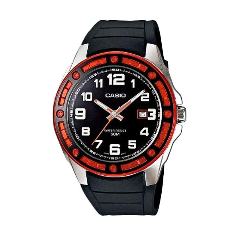 Casio Analog MTP-1347-1AVDF Hitam Merah Jam Tangan Pria