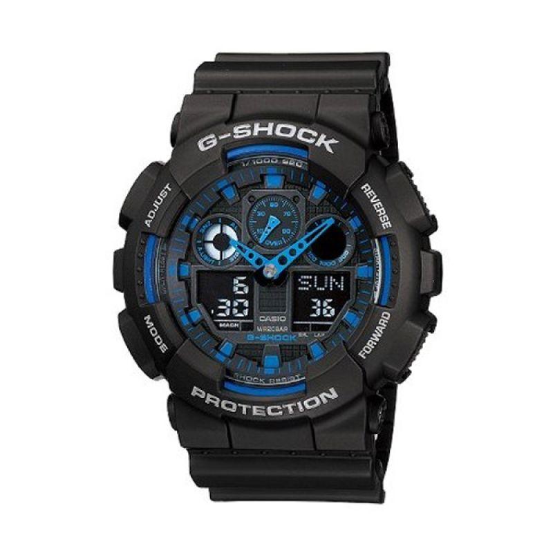 Casio G-Shock GA100 Black Blue Jam Tangan Pria
