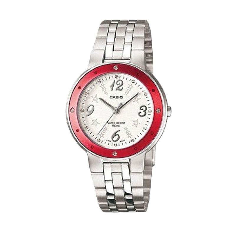 Casio Ladies Analog LTP-1318D-4AVDF Silver Merah Jam Tangan Wanita